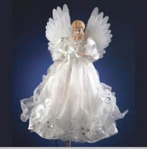 silver white animated fiber optic angel tree topper