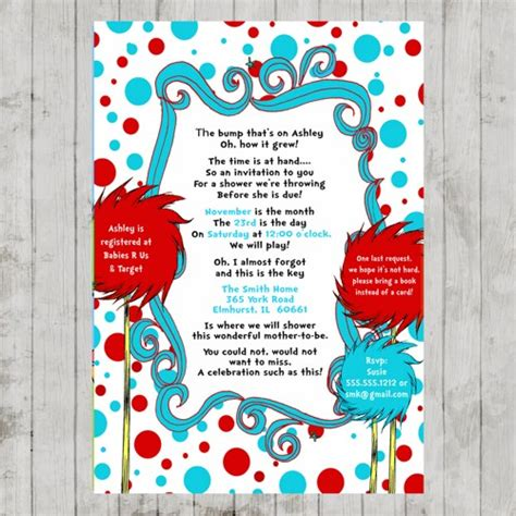 Dr Seuss Baby Shower by Dr Seuss Lorax Baby Shower Invitation
