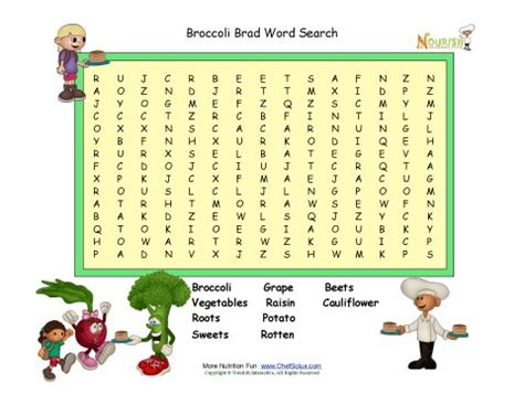 printable word search nutrition broccoli brad word search nutrition word search puzzle for