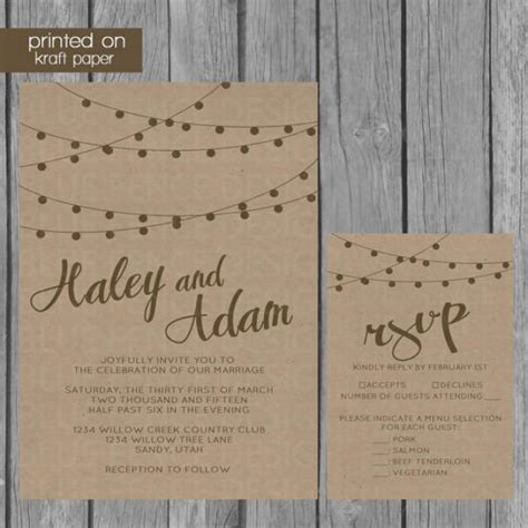 string lights kraft paper wedding invitation 2219899