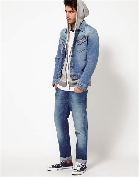 Mens Light Wash Denim Jacket by Nudie Nudie Denim Jacket Conny Light Wash In Blue