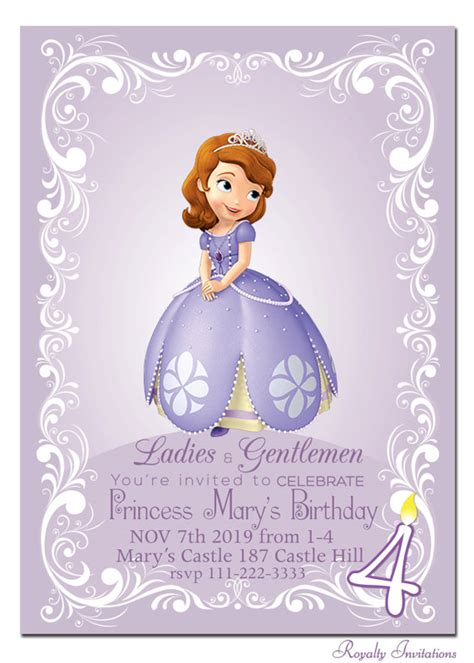 printable invitations of sofia the first princess sofia the first birthday custom party invitation