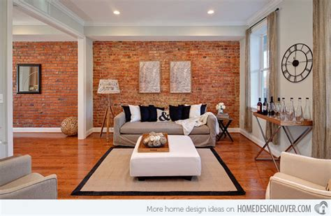 brick wall in living room brick wall accents in 15 living room designs