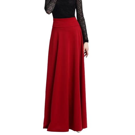 high waist maxi skirts stretch