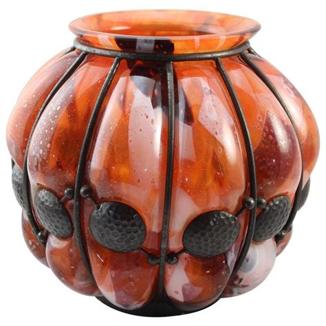 Daum Nancy L by Daum Nancy And Louis Majorelle Deco Hammered Iron And Glass Blown Out Vase For Sale At 1stdibs