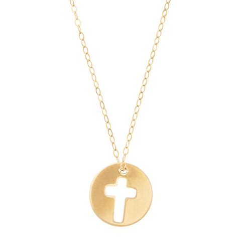 blessed necklace with 14k gold filled chain and cross disc