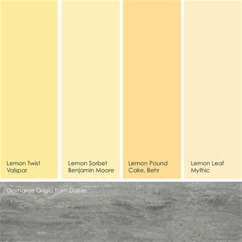 benjamin colors in valspar paint from left to right lemon twist from valspar lemon sorbet from benjamin lemon pound cake