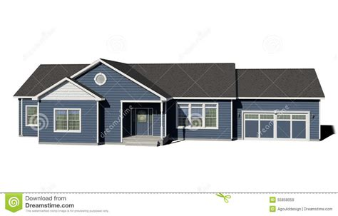 ranch style trim ranch house blue stock illustration image 55858059