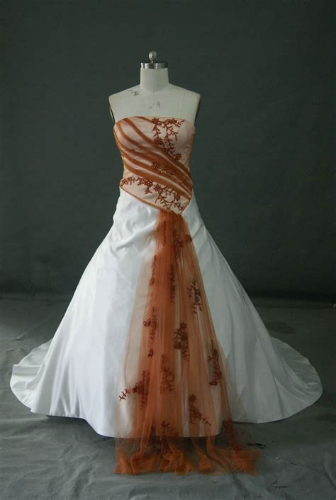 brautkleider orange bridal gowns with color and white wedding dress with