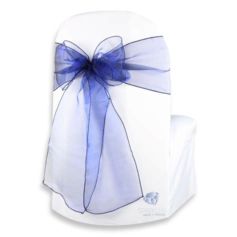 Navy Chair Covers Wedding by 100 Pcs Organza Chair Cover Bow Sash 108 Quot X8 Quot Navy Blue Wedding Qc Ebay