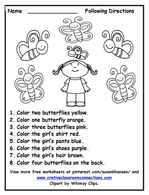 color words worksheet free following directions worksheet with color words