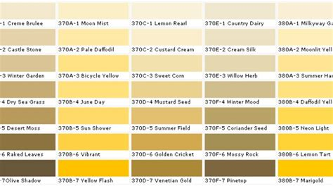 shades of yellow names shades yellow chart behr color charts colors interior