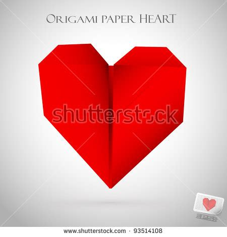 Origami Valentines Day - made paper origami style healthcare stock vector