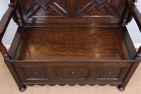 oak monks bench with storage antique victorian georgian edwardian furniture the