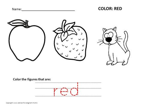 worksheets preschool worksheets for the color red