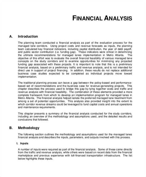 financial breakdown template feasibility analysis templates 8 free word pdf