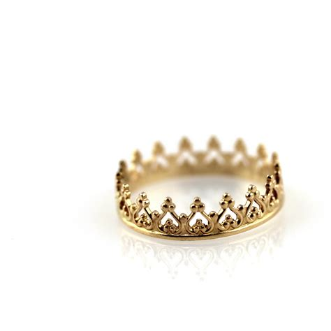 crown ring solid 14k yellow gold ring by lecubicule on etsy