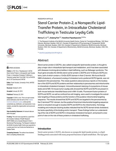 protein 0 cholesterol sterol carrier protein 2 a nonspecific pdf