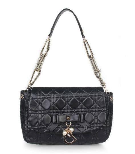Christian Premium Semi Original Asli Lambskin christian chains shoulder bag in black lambskin
