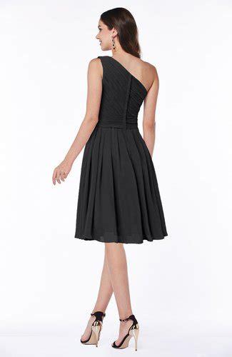 a line black knee length one shoulder chiffon bridesmaid dress cozk1300c black simple a line one shoulder chiffon knee length plus
