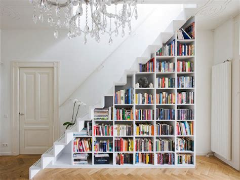 contemporary staircase with minimalist book shelves in all