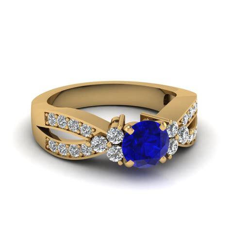 twist pave blue sapphire colored engagement