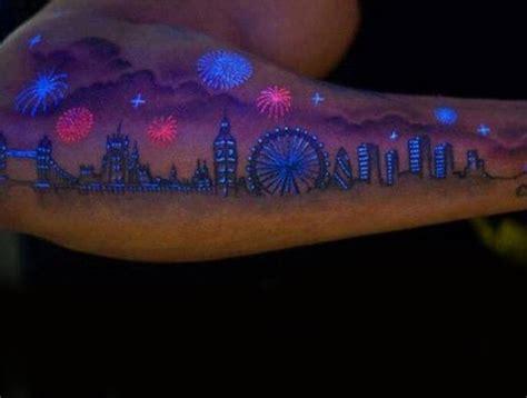 glow in the dark skyline tattoo 60 glow in the dark tattoos for men uv black light ink