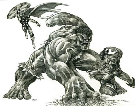 imagenes de hulk vs wolverine en real hulk vs wolverine and thor by mike hill on deviantart