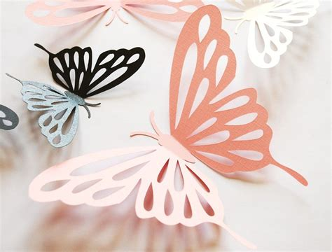 How To Make A 3d Paper Butterfly - 3d paper butterfly with cut outs wall sticker room