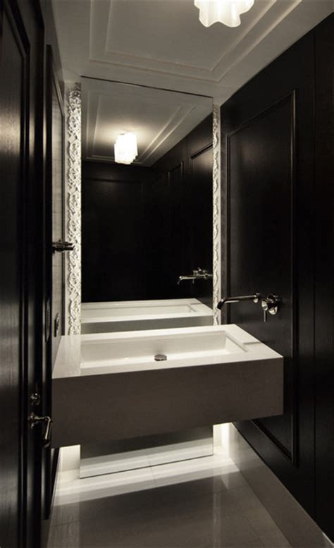 contemporary powder room small vanity mirror design powder room contemporary bathroom chicago by