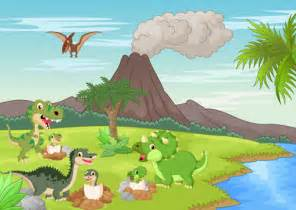 cartoon dinosaurs with natural landscape vector 14