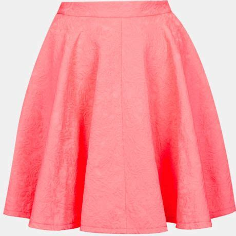 full swing skirt topshop jacquard full swing skirt in pink fluro pink lyst
