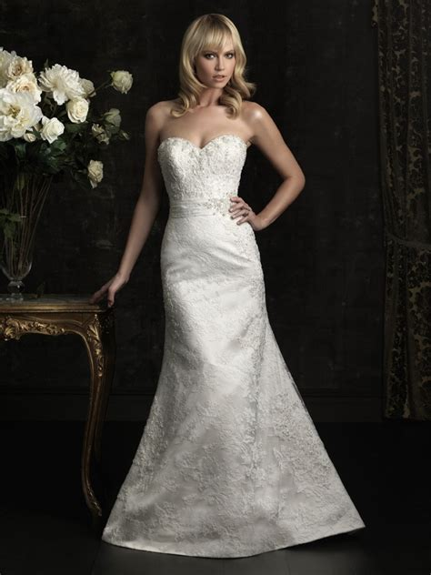 slim fitted mermaid strapless beaded wedding dress