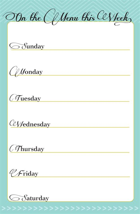 free printable dinner menu planner weekly meal plan printable calendar template 2016