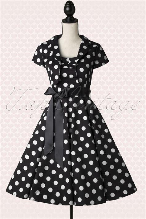 black and white polka dot swing dress 50s jolie big dot bolero swing dress in black and white