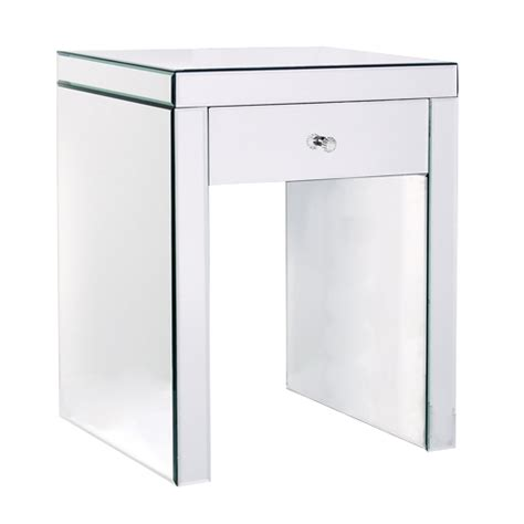 mirrored bedside table with one drawer one drawer glass mirrored effect bedside table