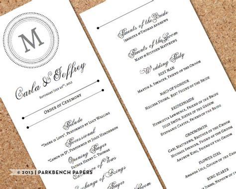 classical program template wedding program template editable printable diy wedding