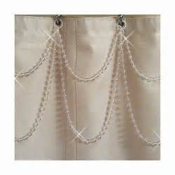 Pearl Shower Curtain Hooks Double Swag Pearl Shower Curtain Bling Or Tub Shower