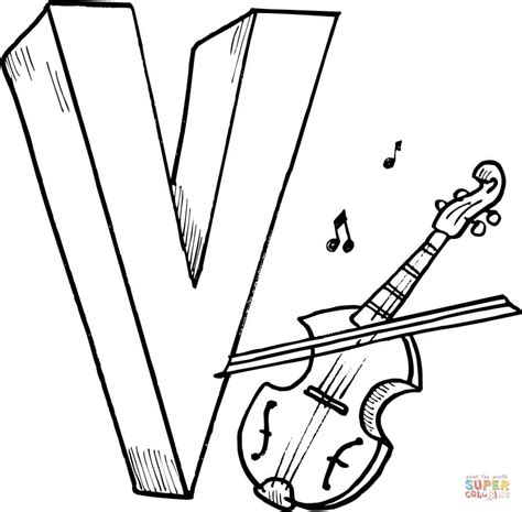 letter v is for violin coloring page free printable