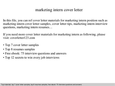 Cover Letter For Mba Marketing Internship by Marketing Intern Cover Letter