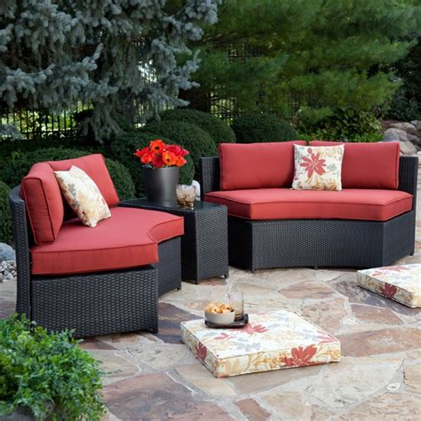 meridian patio furniture meridian all weather wicker sectional terracotta