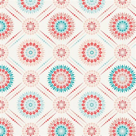 Gender Neutral Gifts by Coral And Teal Modern Medallion Fabric By The Yard Coral
