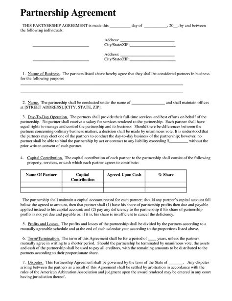 partner agreement template partnership agreement business templates
