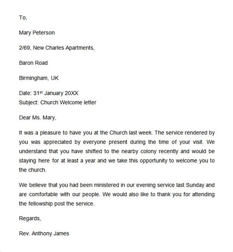 sle church visitor welcome images cv letter