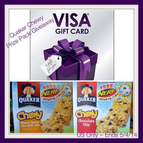 Chewy Gift Cards And Promotions - ad quaker chewy bars review prize pack giveaway ends 05 04 14 fuelbackyardfun