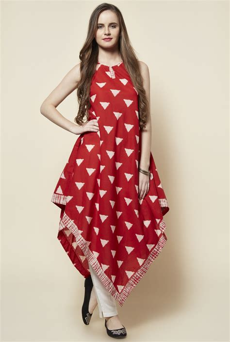 dress design kurta red cotton sleeveless triangle kite kurta kurta red