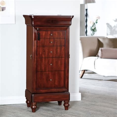 Jewelry Armoire Antique by Belham Living Seville Antique Walnut Locking Jewelry