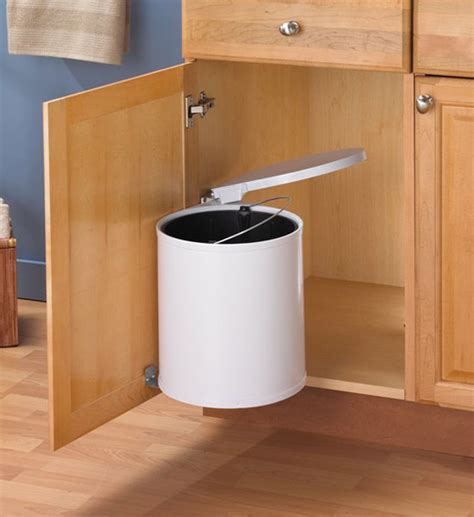 Kitchen Garbage Cabinet by Swing Out White Trash Can In Cabinet Trash Cans