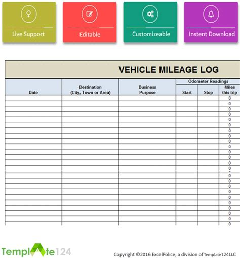 Microsoft Excel Mileage Log Template by Vehicle Mileage Log Template Excel Template124