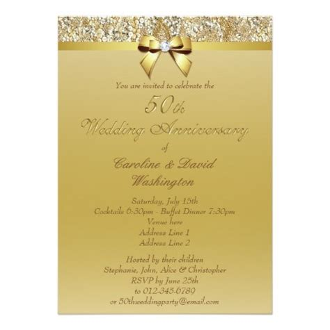 50th Gold Wedding Anniversary Faux 50th Gold Wedding Anniversary Faux Sequins And Bow